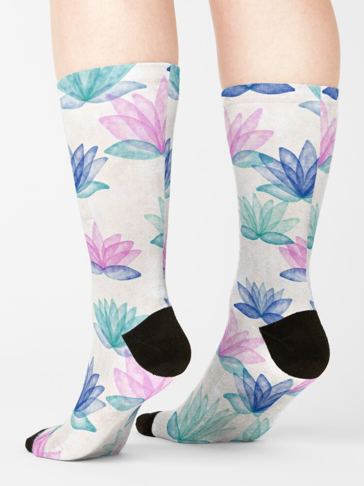 Alternate view of Calm Corner Lotus Floral Watercolor on rose marble Socks