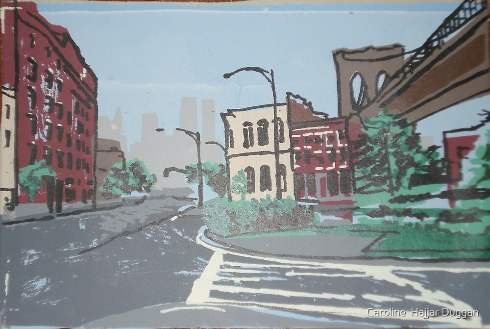 DUMBO,Brooklyn,  9/11 memorial silkscreen by Caroline  Hajjar Duggan