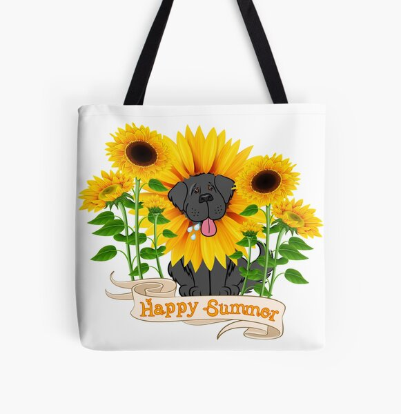 Happy Summer Newfie All Over Print Tote Bag