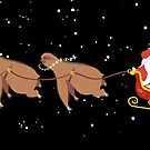 Funny sloth reindeer Santa face palm Christmas scene by BigMRanch