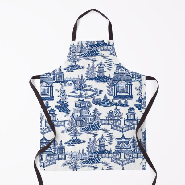 Blue Willow Ancient Ming China - Blue And White Chinoiserie  Apron