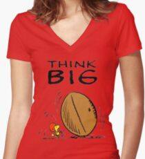 Woodstock Peanuts Think Big Women's Fitted V-Neck T-Shirt