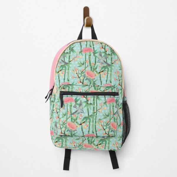 Bamboo, Birds and Blossom - soft blue green Backpack