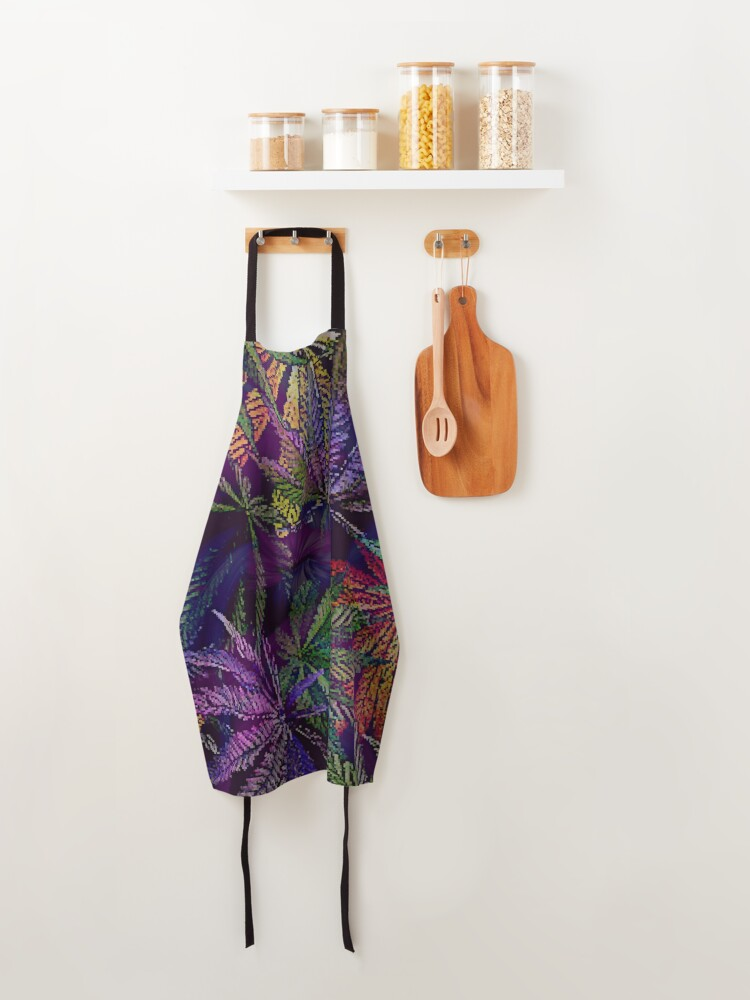 Alternate view of Psychedelic Marijuana Cannabis Leaves Apron