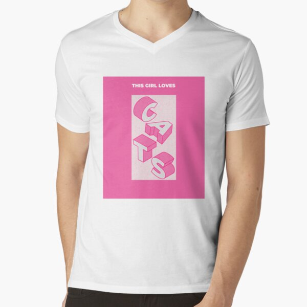 This Girl Loves Cats and Pink  V-Neck T-Shirt
