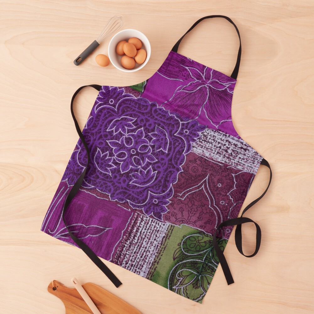 Green, Purple and Pink Zen Garden Apron