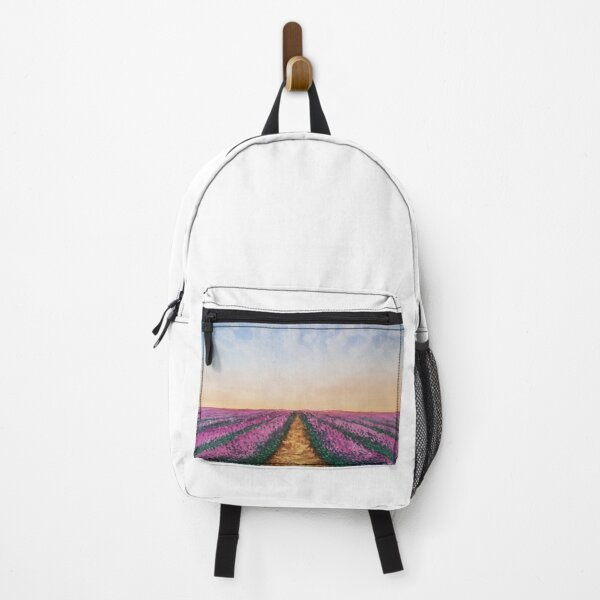 Landscape of a lavender field with watercolor Backpack