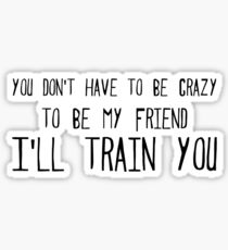you don't have to be crazy to be my friend I'll train you Sticker