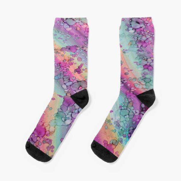 Cosmic Rainbow Alcohol Inks  Socks