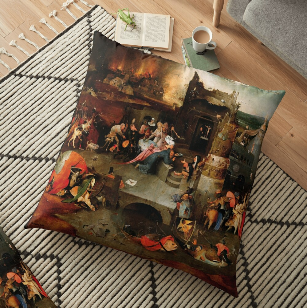 Triptych of the Temptation of St. Anthony by Hieronymus Bosch Floor Pillow