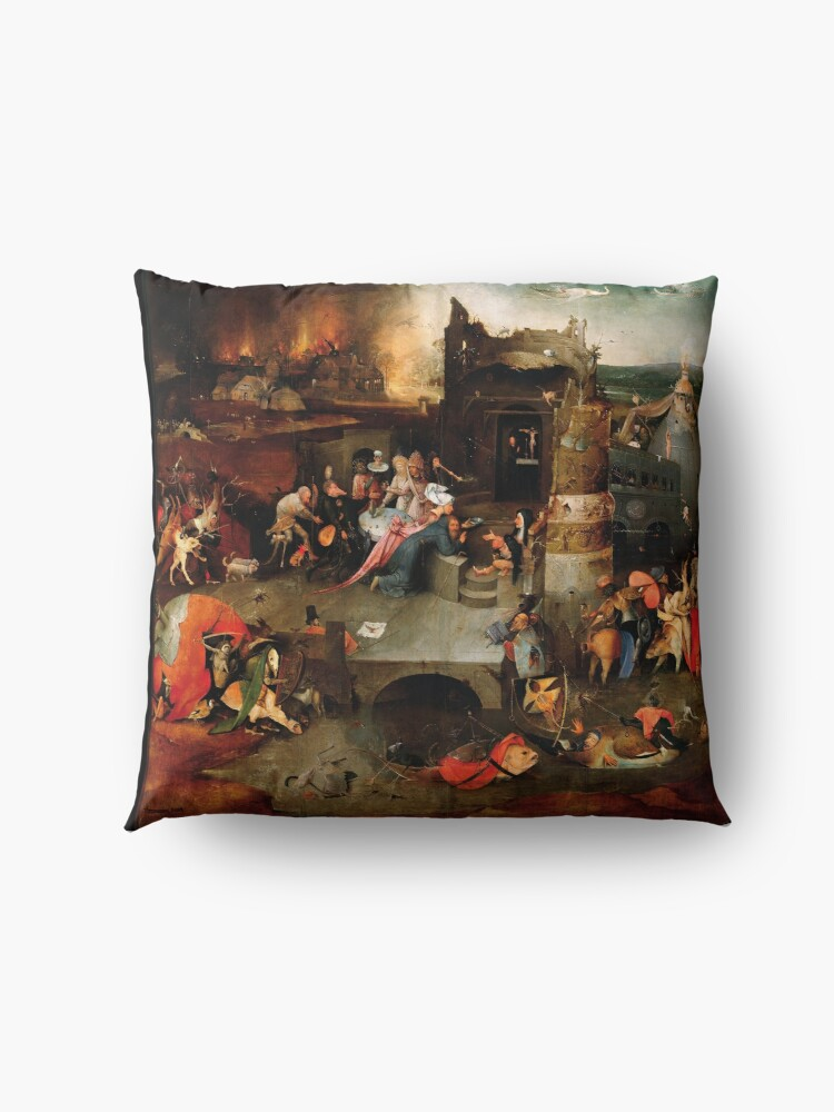 Alternate view of Triptych of the Temptation of St. Anthony by Hieronymus Bosch Floor Pillow