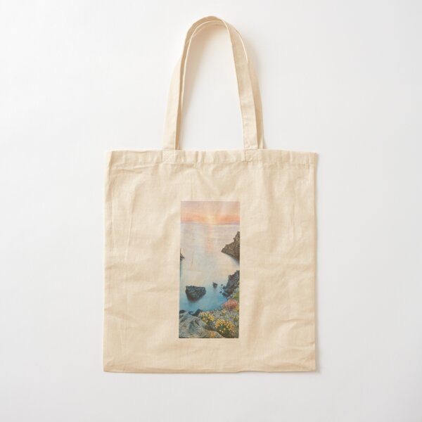 Sunrise landscape in the ocean with watercolor Cotton Tote Bag