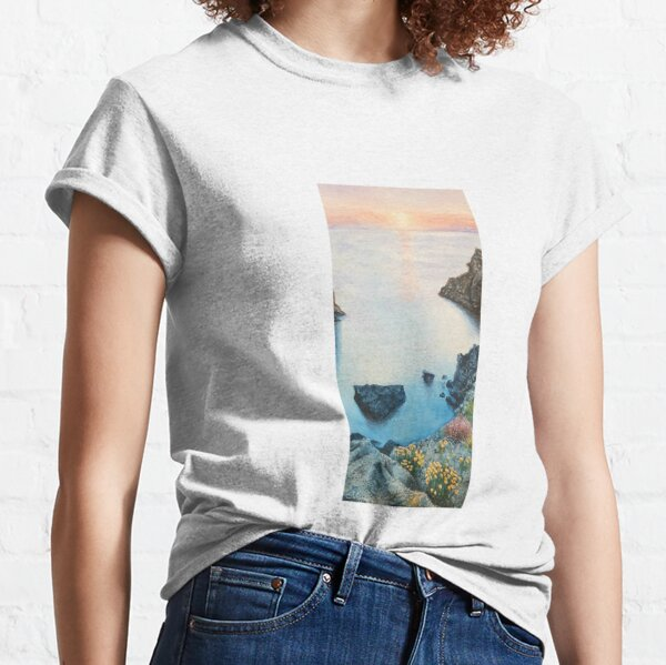 Sunrise landscape in the ocean with watercolor Classic T-Shirt