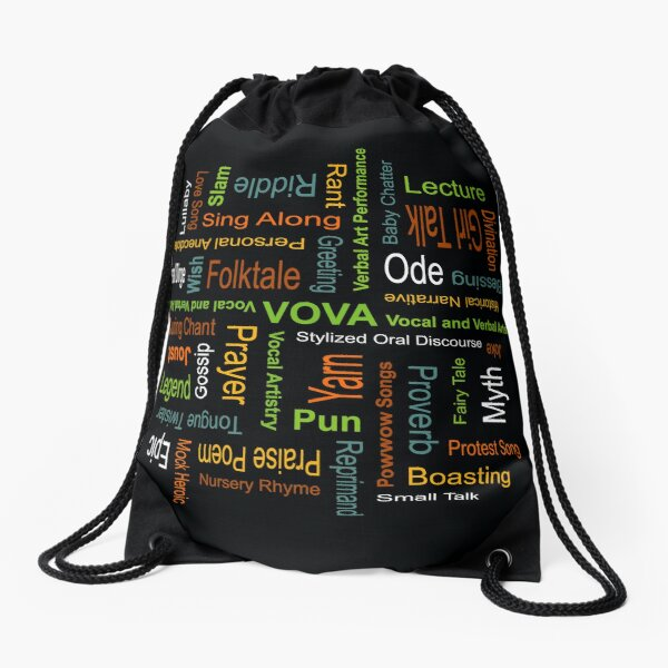 """Spoken Word Genres"" by Garage Montage Drawstring Bag"