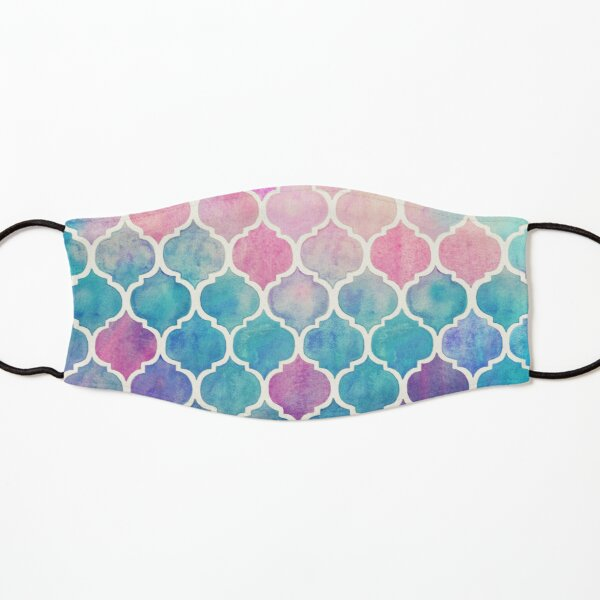 Rainbow Pastel Watercolor Moroccan Pattern Kids Mask