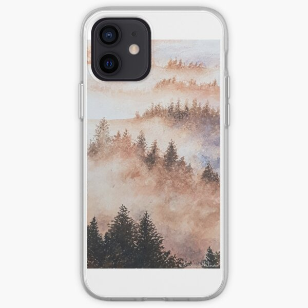 Watercolor forest landscape with fog iPhone Soft Case