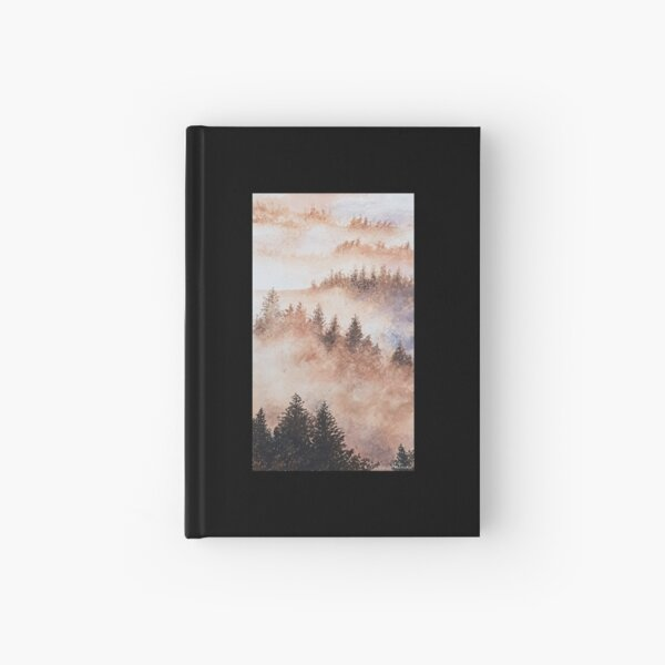 Watercolor forest landscape with fog Hardcover Journal