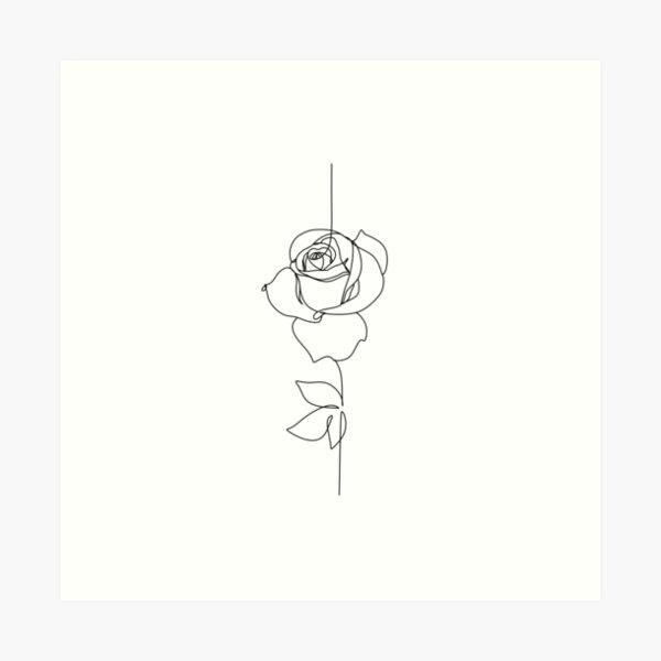 One line rose. Botanical line print Art Print