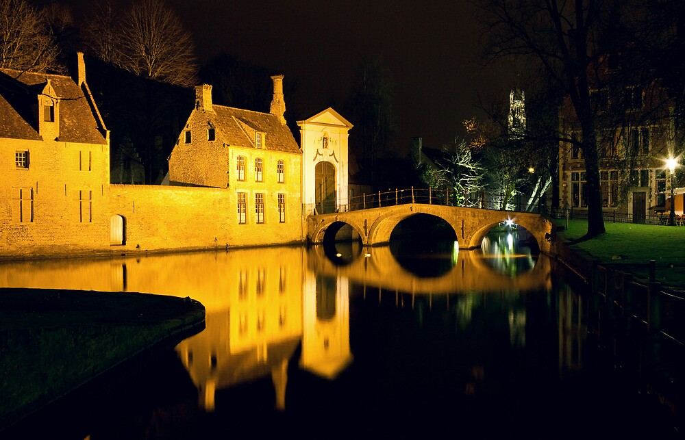 The Bridge And The Convent Entrance In Bruges by kirilart