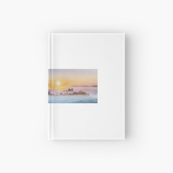 Landscape of a sunrise with watercolor Hardcover Journal