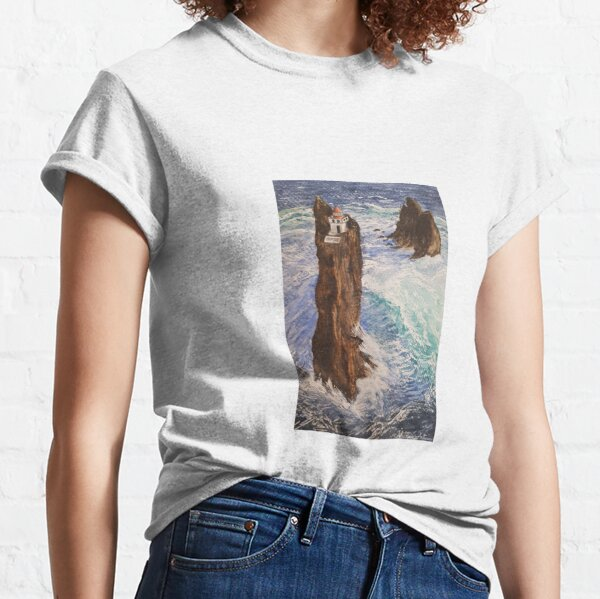 Landscape of an Iceland lighthouse with watercolor Classic T-Shirt