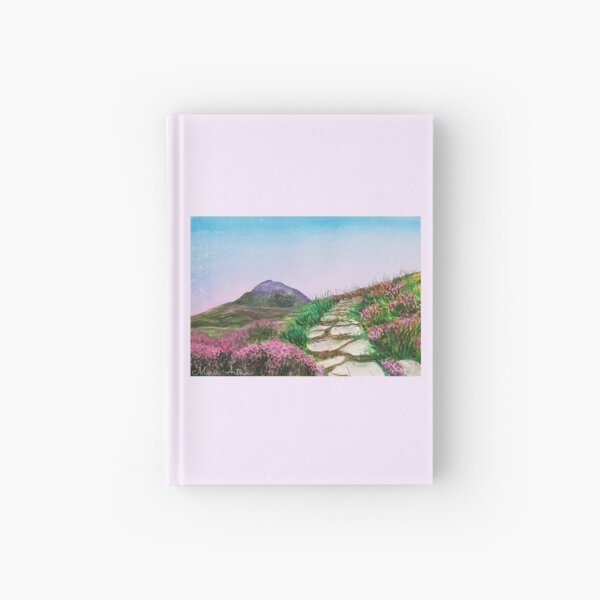 Mountainous landscape with watercolor Hardcover Journal