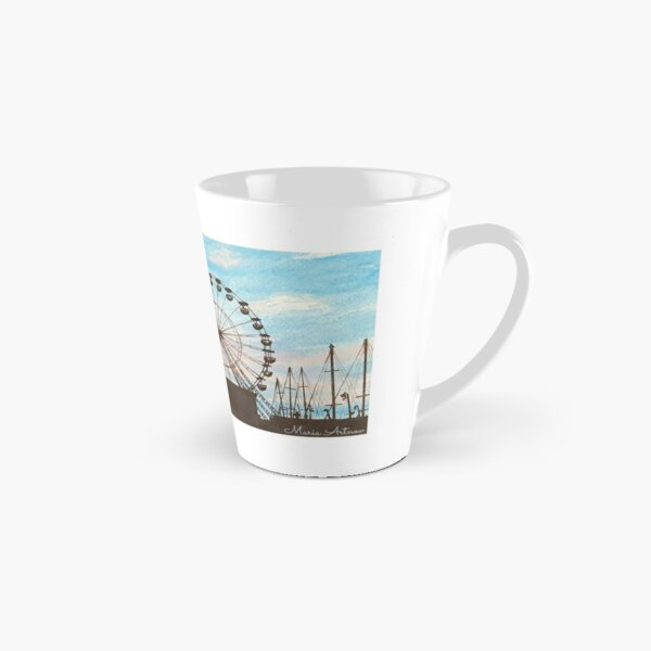 Landscape of a ferris wheel in a sunset with watercolor Tall Mug