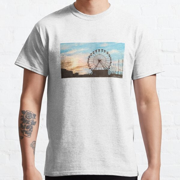 Landscape of a ferris wheel in a sunset with watercolor Classic T-Shirt