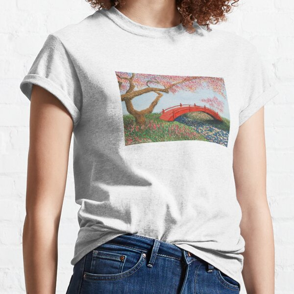 Landscape of a Japanese garden with watercolor Classic T-Shirt