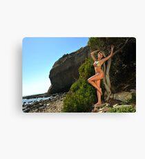 Sexy bikini on location of CA coastline  Canvas Print