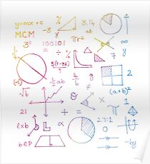 Math formulae (white) Poster