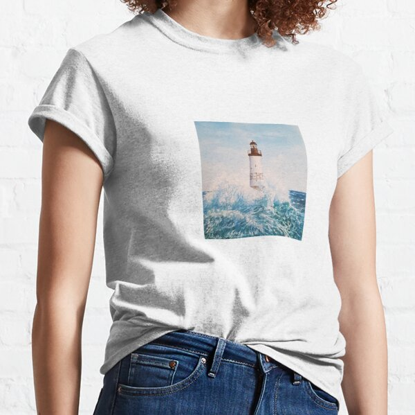 Landscape of the Ar-Men lighthouse of Brittany in France with watercolor Classic T-Shirt