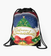 Christmas snow globe with xmas tree Drawstring Bag