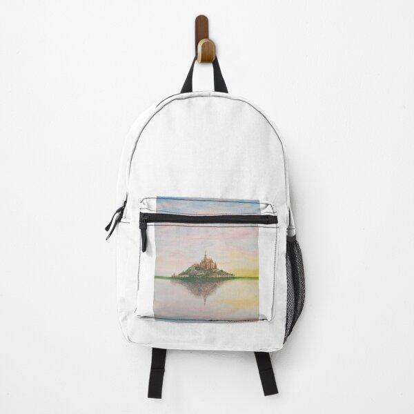 Mont Saint-Michel landscape watercolor, France Backpack