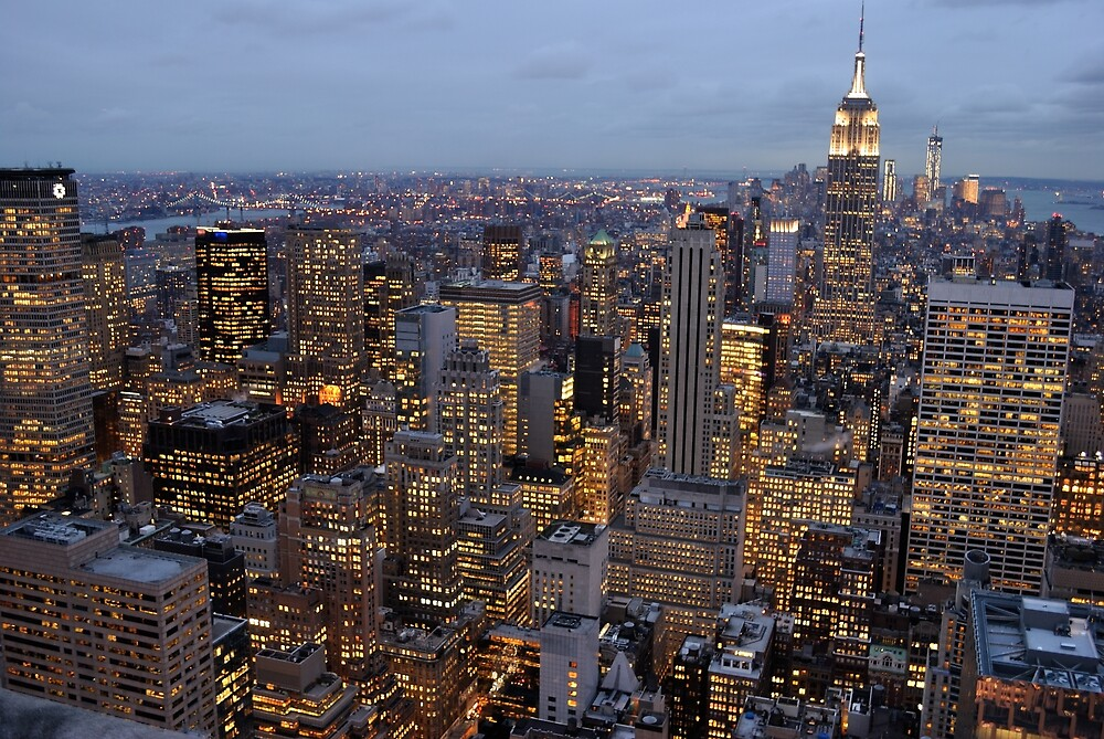 Manhattan Night Skyline by Andy Fairgrieve