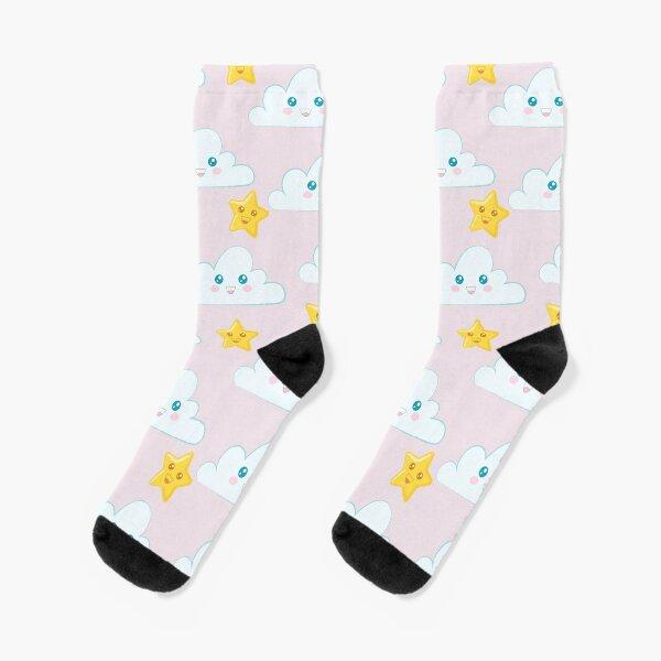 Estampado infantil nube y estrellas con fondo rosa Calcetines