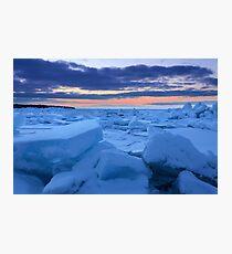 Sunset on the Frozen Straits of Mackinac Photographic Print