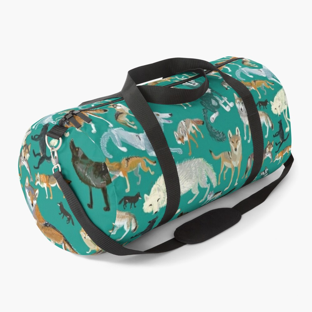 Wolves of the World (Green pattern) Duffle Bag