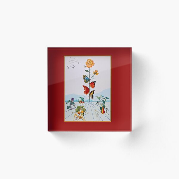 BUTTERFLY ROSE : Vintage Abstract Dali Painting Print Acrylic Block