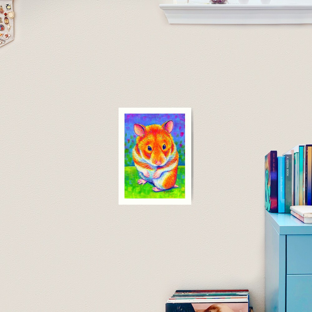 Colorful Rainbow Golden Hamster Art Print