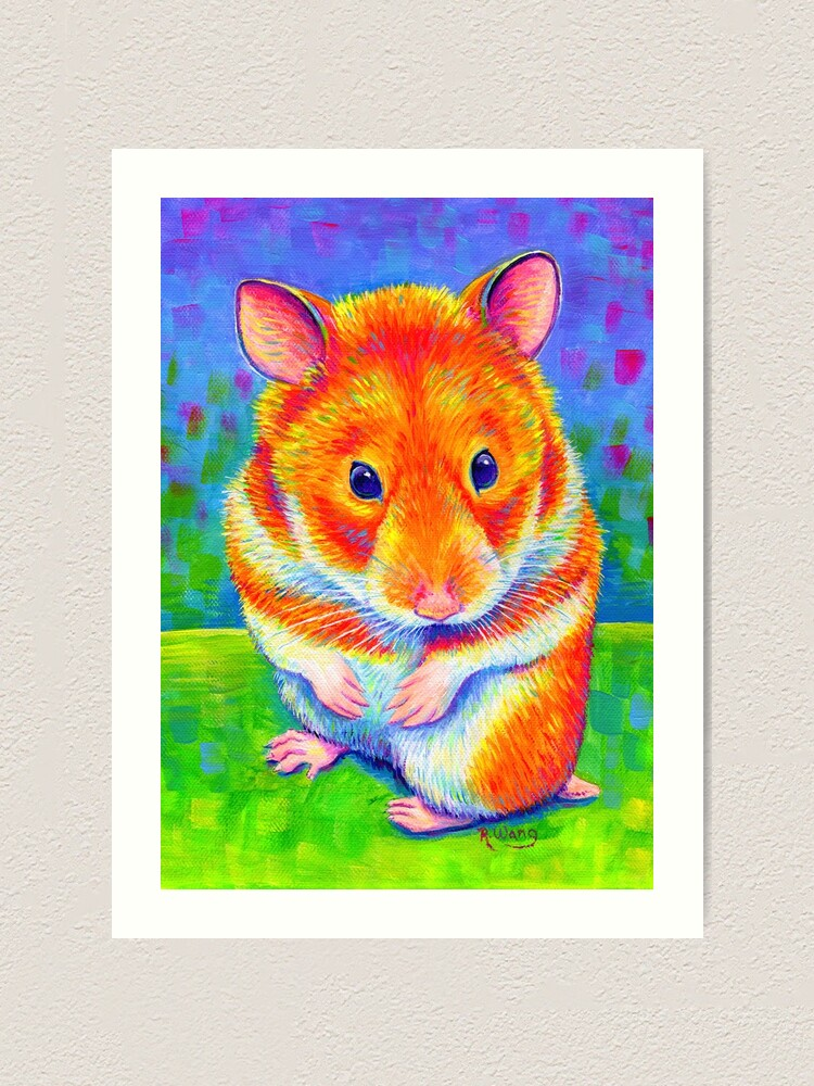 Alternate view of Colorful Rainbow Golden Hamster Art Print