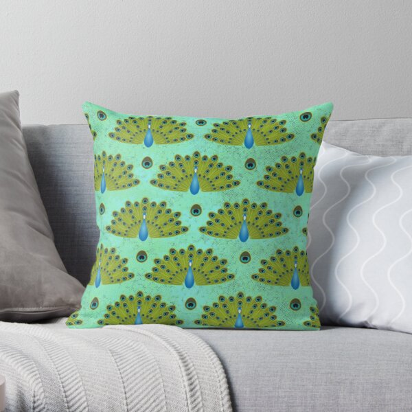 Fanned Peacock Tail Feathers Throw Pillow