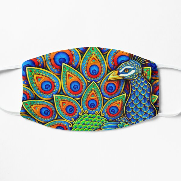 Colorful Paisley Peacock Rainbow Bird Flat Mask