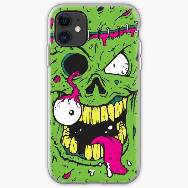 Green eyeball popping zombie iPhone Soft Case