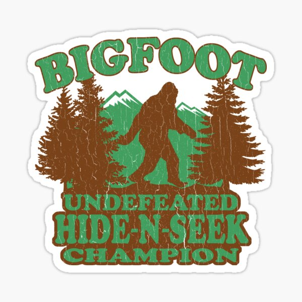 Bigfoot Hide N Seek Champion (vintage distressed) Sticker