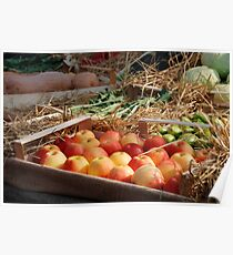 Box of Red Apples in Fruit and Veg Display Poster