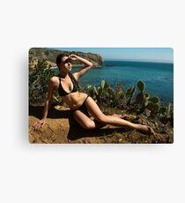 Sexy bikini on bird view location of CA coastline Canvas Print