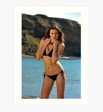 Bikini model posing in front of ocean in Palos Verdes, CA Art Print