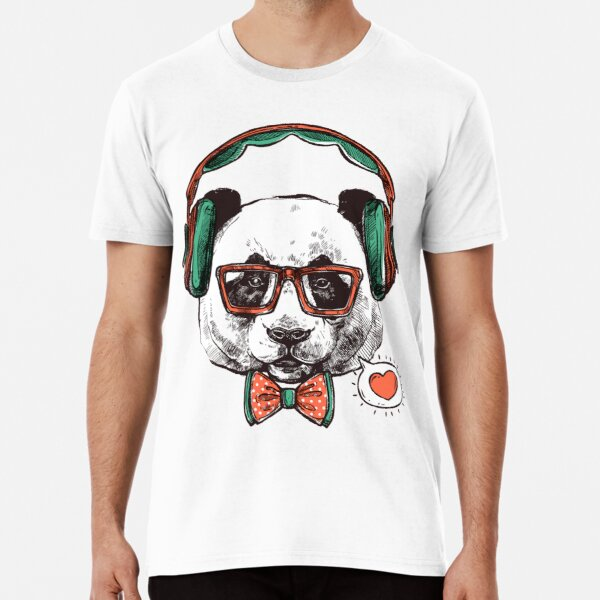 Panda wears headphones and enjoys the time to listen to songs Premium T-Shirt