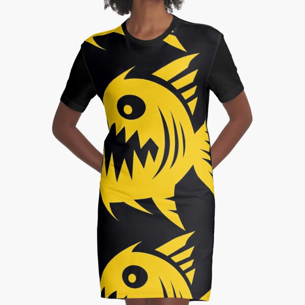 Autoscum Piranha [Yellow] Graphic T-Shirt Dress